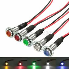 5 x 8mm 12V LED Pilot Dash Panel Indicator Light Lamp Blue Green Amber Red White