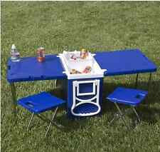Multi Function Rolling Cooler Table 2 Chairs Outdoor Picnic Beach Camping Party