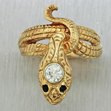 1940s Antique Art Deco 14k Solid Yellow Gold Diamond Snake Serpent Band Ring