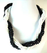 LADIES ELEGANT CHUNKY MULTI LAYER WHITE BLACK STATEMENT NECKLACE STUNNING (ST66)