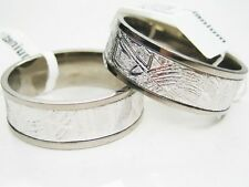 His & Hers GIBEON IRON METEORITE TITANIUM WEDDING COUPLE RING SET 6.5 - 11