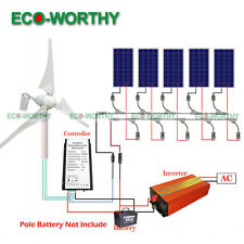 900W Hybrid Kit:400W Wind Turbine Generator + 500W Solar Panel +1000W Inverter