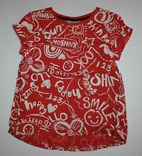 New NEXT UK Red White Happy Smile Shine Rainbow Graffiti Tee Top Size 4 5 Year