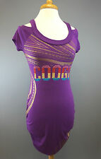 COOGI Purple Bling Knit Bodycon Stretch Short Dress Cinched Sexy Womens Sz MED