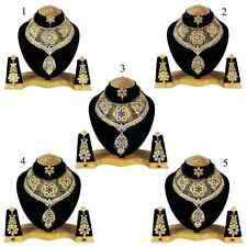 5 Sets Lot Of Gold Plated Zerconic Patry Wear Kundan Designer Necklace Sets