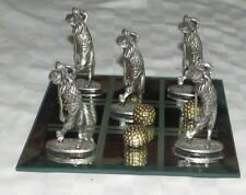 Golf Theme Tic-Tac-Toe Naughts & Crosses Desk Game: pewter golfer & ball figures