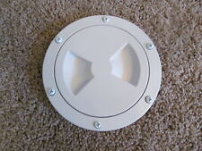 "Viking Marine Boat RV WHITE 4"" Access Hatch Cover Twist Out Deck Plate Screws"
