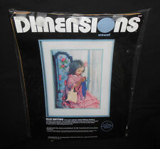 New Vtg Dimensions Gallery ALICE KNITTING Crewel Embroidery Kit Wool Young Girl