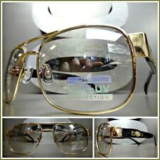 CLASSIC VINTAGE RETRO Style SUN GLASSES Gold Black Frame Clear Lens Mirror Tint