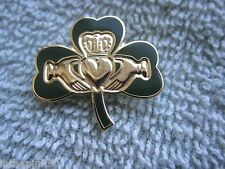 "Irish Valentine ""Claddagh On Shamrock"" Pin/Badge Valentines Day Gift Ireland"