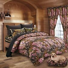 7 PC PINK WOODS CAMO COMFORTER AND BLACK SHEET SET FULL SIZE CAMOFLAUGE BEDDING