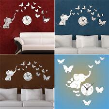 Orologio analogico da parete 3D con elefante e farfalle - ideale per bambini