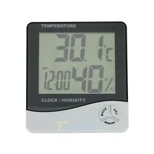 Digital LCD Thermometer Hygrometer Temperature Humidity Meter Gauge Clock Alarm