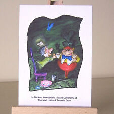 In Wonderland maze Tweedle Dum & Mad Hatter ACEO art cards WDCC drawings