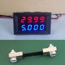 200V 100A DC Digital LED Voltmeter Ammeter Amp Volt Meter + 100A shunt 12v 24v
