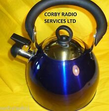 WHISTLE KETTLE STAINLESS STEEL  2.5L BLUE METALIC HOME CAMPING CARAVAN & STOVE
