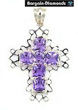 Princess Amethyst Christian Cross 18K Gold Pendant love promise protection mom