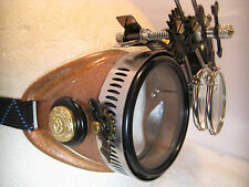Pro Steampunk Safety Goggle Hammered Copper Clockwork Western Lab Top Hat 5X2