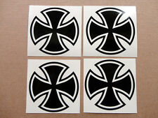 Iron Cross Maltese ROUND Cross 4x Sticker Decal, each is 2.7 x 2.7 in., COLORS!