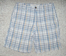 Men's Boys AMERICAN EAGLE Plaid Bermuda Shorts~White/Blue/Gold~32~EUC