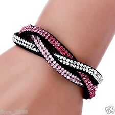 Joli Bracelet Wrap Slake mode, fashion strass rose, transparent bijoux fantaisie