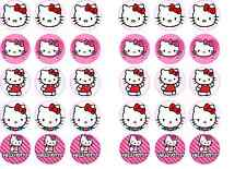 30 x 3.5cm Hello Kitty Edible Rice Wafer Paper Birthday Cup Cake Bun Toppers