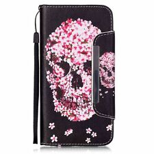 For iPhone 6+ 6S+ PLUS - Credit Card Wallet Pouch Holder Case Pink Flower Skull