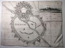 ORIGINALE 17th 18th SECOLO mappa o Piano della città fortificata di tovrnay TOURNAI.