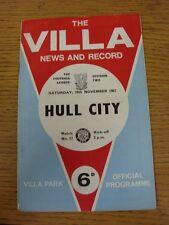18/11/1967 Aston Villa v Hull City  (Creased, Folded, Worn, Nicks). This item ha