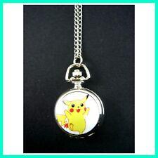 Pokemon Pikachu Kids Men Ladies Girl Boy Fashion Pocket Pendant Watch Necklace
