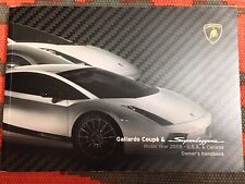 2008 LAMBORGHINI GALLARDO COUPE & SUPERLEGGERA OWNERS MANUAL RARE FIND!! FAST