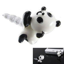 15HE White Black Panda Head 3.5mm Earphone Anti Dust Pug Cap Stopper iPhone5/4S