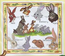 "Watership Down caracteres Sampler Cross Stitch Kit (14 ""x 12"") Dmc"