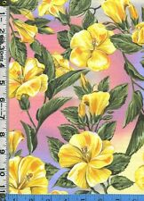 Fabric Northcott State Flowers YELLOW HIBISCUS HAWAII HAWAIIAN Tropical OOP RARE