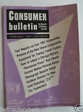 Consumer Bulletin Magazine- Test Reports On 4 1967 Cars Chevy V8, Ford Gal. V8++