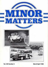 """MORRIS MINOR OWNERS CLUB MAGAZINE - """"MINOR MATTERS""""   (March/April 1992))"""