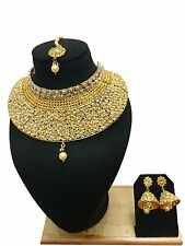 New Indian Bollywood Ethnic Gold Plated Fashion Jewelry Choker Necklace Set