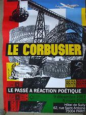 rare affiche  le corbusier  exposition hotel sully 1987 passé réaction poétique