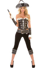 Ladies Sexy Pirate Costume 6 Pieces Hat Corset Trousers Cuffs & Belt Size 12-14