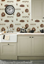 COFFEE Themed, Washable Kitchen Wallpaper  In Browns & Cream