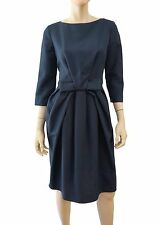 CHRISTIAN DIOR 3/4-Slv Textured Navy Cotton Bow-Waist Fit-and-Flare Dress F42/10