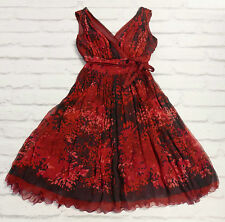 Dark Romance: Francisco Rosas £800 Red & Black Print Chiffon Dress IT44/UK12