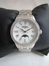 ROTARY WOMEN'S WATCH MOON PHASE LB00140/07 STAINLESS STEEL CRYSTAL SET GENUINE