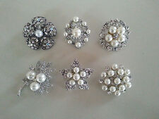 6 PC FAUX PEARL PINS BROOCHES Wedding Bouquet Crytal BLING