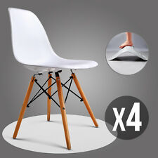 Set of 4 Mid Century Eames Style DSW Dining Side Chairs w/Wood Legs in White