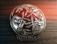 Large Celtic Dogs Brooch/Pin -- Norse/Viking/Shield/Medieval/Silver/Cloak/Hounds