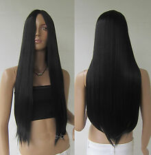 Classic Black 70cm Long Cosplay Party Wigs Heat Resistant Full Straight Hair Wig