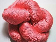 100% Pure Mulberry Queen Silk Yarn 50 gm 3 Ply Lace Weight Pink Coral QS006 LotB