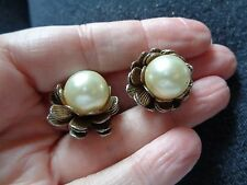 SUPERB LARGE FAUX PEARL FLORAL DESIGNED CLIP ON EARRINGS MID CENTURY