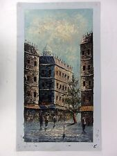 W. Bonsall Original Oil on Canvas Painting City Street Scene Unstretched